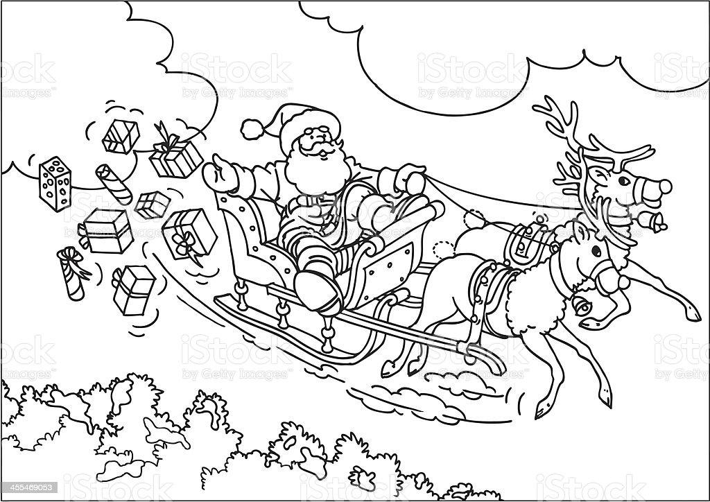 Reindeer flying santas sleigh stock vector art more for Flying reindeer coloring pages