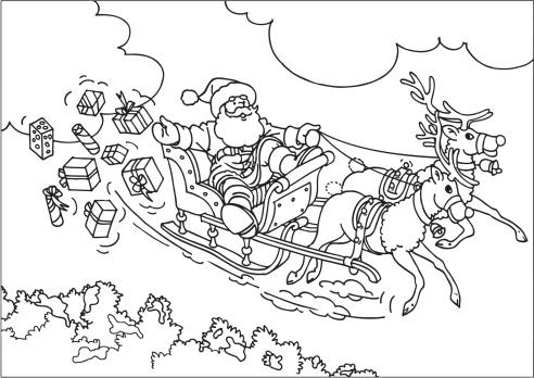 Reindeer Flying Santa's Sleigh