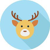 Reindeer Head Colored Vector Icon