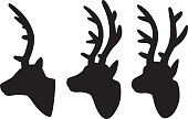 Vector silhouettes of a group of reindeer heads.