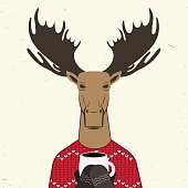 Reindeer in knitted sweater with ornament