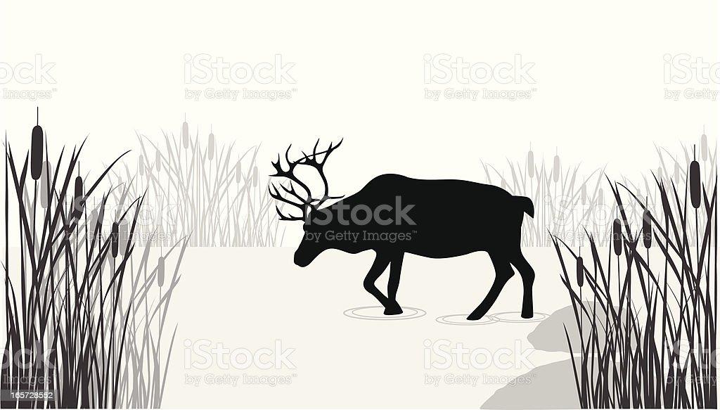 Reindeer Lake Vector Silhouette royalty-free stock vector art