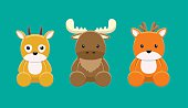 Reindeer Moose Gazelle Doll Set Cartoon Vector Illustration