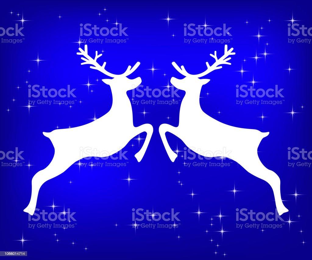 Reindeer on a blue glittering Christmas background. vector art illustration