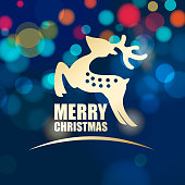 Celebrate Christmas with gold colored reindeer symbol on the colorful sparkling lights background