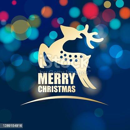 istock Reindeer on Christmas Lights Background 1289154916