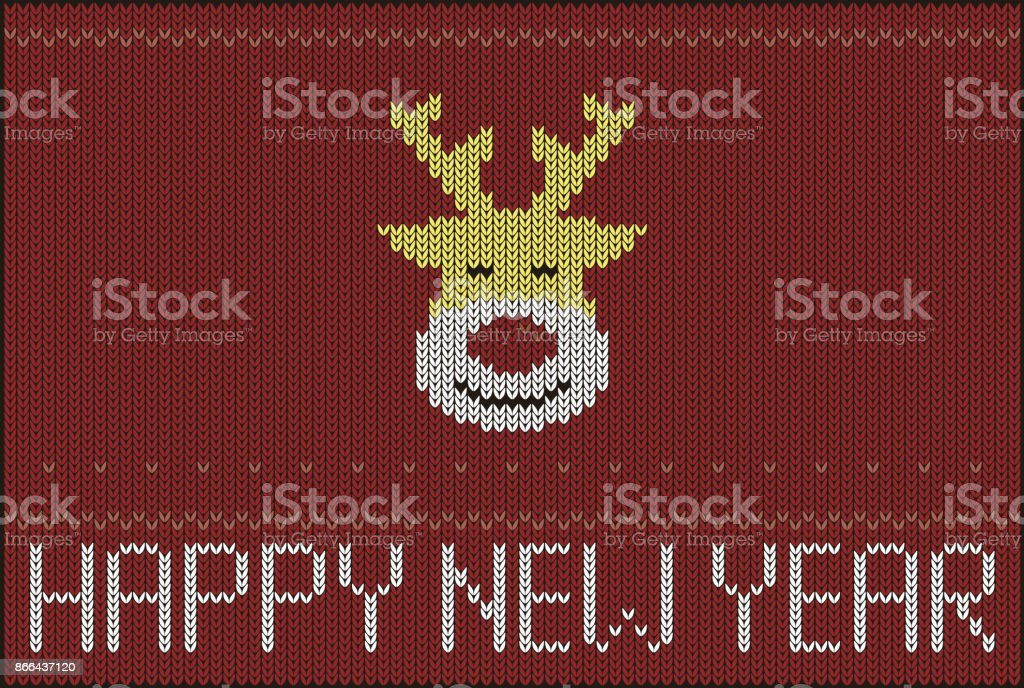 Reindeer On Knitting Pattern Happy New Year Vector Illustration