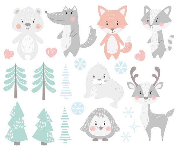 Reindeer, raccoon, seal, wolf, penguin, bear, fox baby winter set. Reindeer, raccoon, seal, wolf, penguin, bear, fox baby winter set. Cute animal, forest tree, snowflake christmas illustration for nursery, t-shirt, kids apparel, baby shower. Scandinavian child design cute wolf stock illustrations