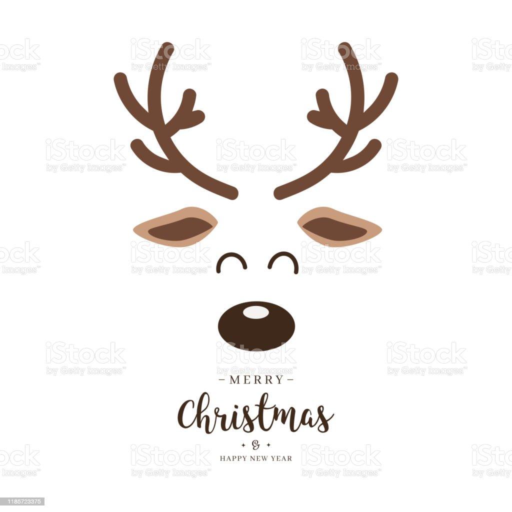 Rendederot Naste niedlich Nahaufnahme Gesicht mit Grüßen isoliert weißen Hintergrund. Weihnachtskarte - Lizenzfrei Auge Vektorgrafik