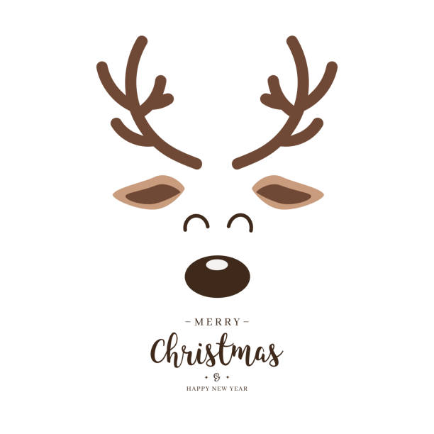 Reindeer red nosed cute close up face with greetings isolated white background. Christmas card Reindeer red nosed cute close up face with greetings isolated white background. Christmas card antler stock illustrations