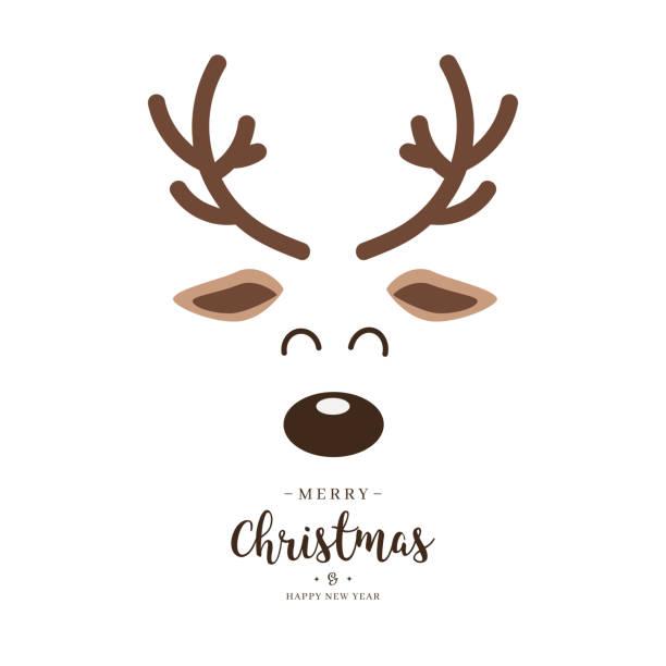 rendederot naste niedlich nahaufnahme gesicht mit grüßen isoliert weißen hintergrund. weihnachtskarte - rentier stock-grafiken, -clipart, -cartoons und -symbole