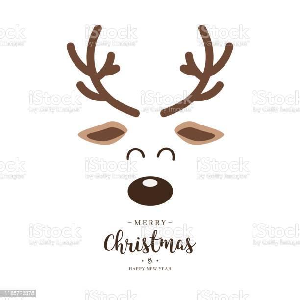 Rendederot Naste Niedlich Nahaufnahme Gesicht Mit Grüßen Isoliert Weißen Hintergrund Weihnachtskarte Stock Vektor Art und mehr Bilder von Auge