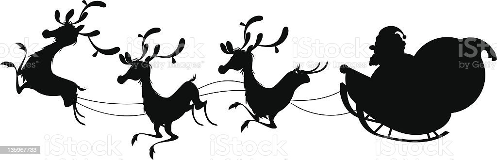 Reindeer Silhouette And Santa Claus Christmas Royalty Free Stock