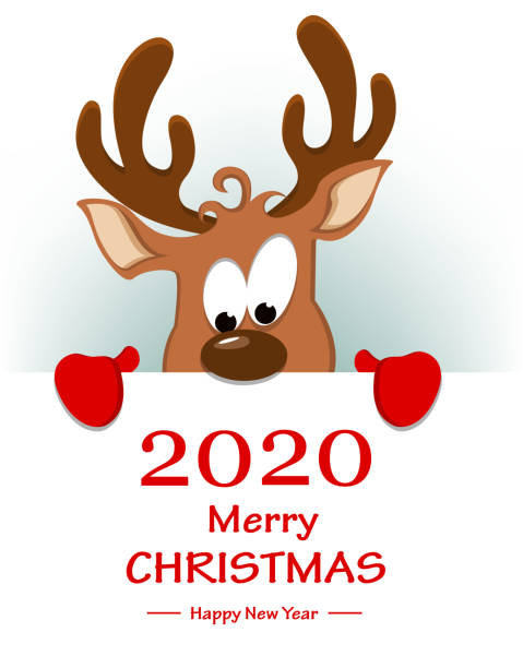 reindeer standing behind placard with greetings - reindeer stock illustrations