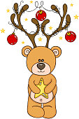Scalable vectorial representing a reindeer Teddy Bear Christmas, element for design, illustration isolated on white background.