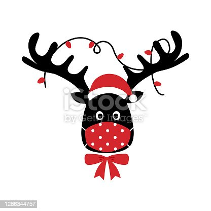 istock Reindeer wearing red medical face mask and Santa hat in flat design. Merry Christmas festival celebration in Covid-19 Coronavirus outbreak concept vector illustration. 1286344757