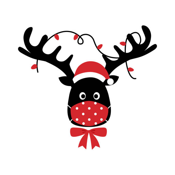 Reindeer wearing red medical face mask and Santa hat in flat design. Merry Christmas festival celebration in Covid-19 Coronavirus outbreak concept vector illustration. Reindeer wearing red medical face mask and Santa hat in flat design. Merry Christmas festival celebration in Covid-19 Coronavirus outbreak concept vector illustration. cheerful stock illustrations