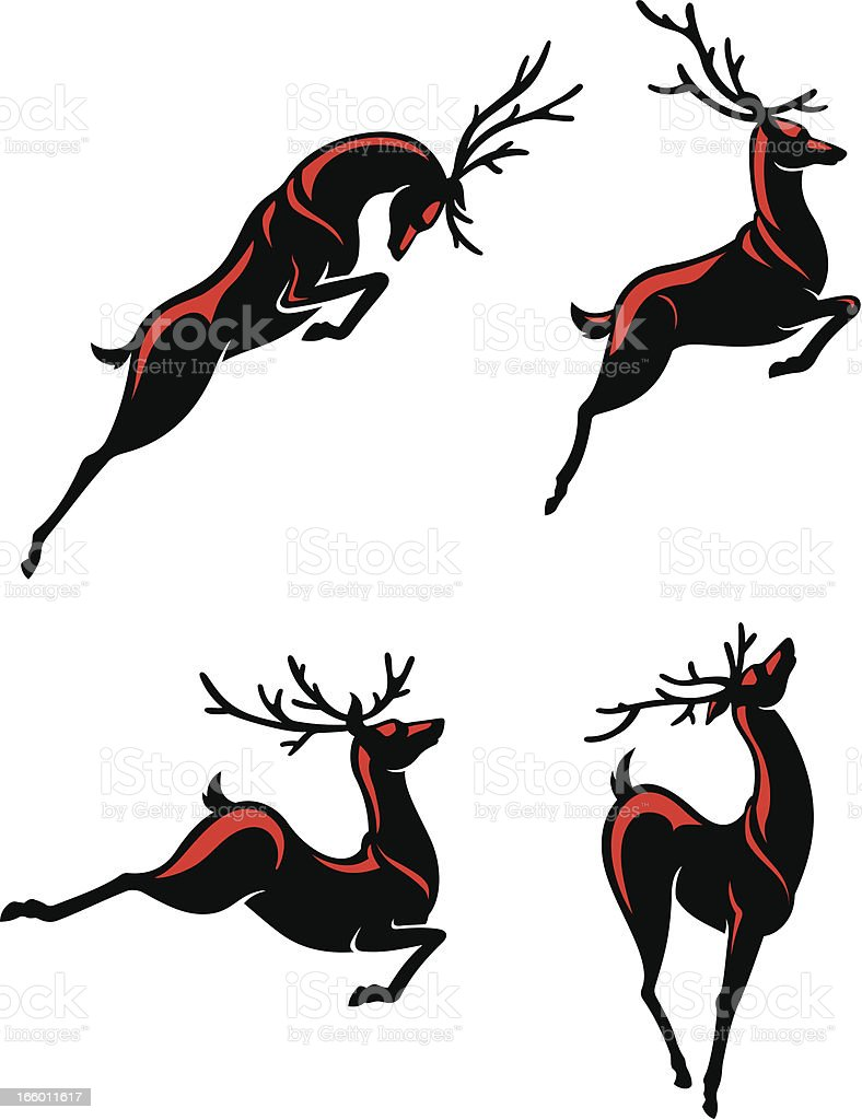 Reindeers Hopping royalty-free reindeers hopping stock vector art & more images of activity