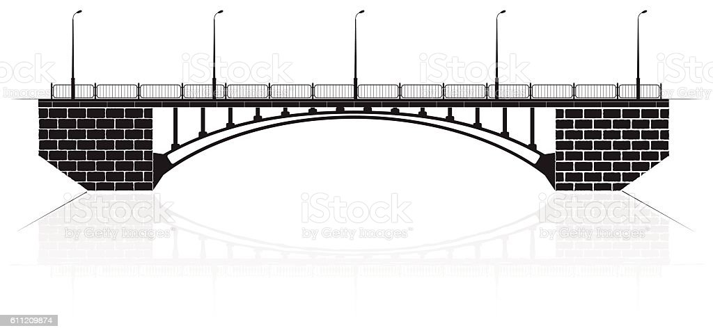 Reinforced concrete arch bridge in Kiev for cars and pedestrians. vector art illustration