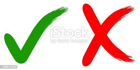 reject and approve of calligraphic sign ok no, green and red, hand drawn brush, vector illustration for printing or website design reject and approve
