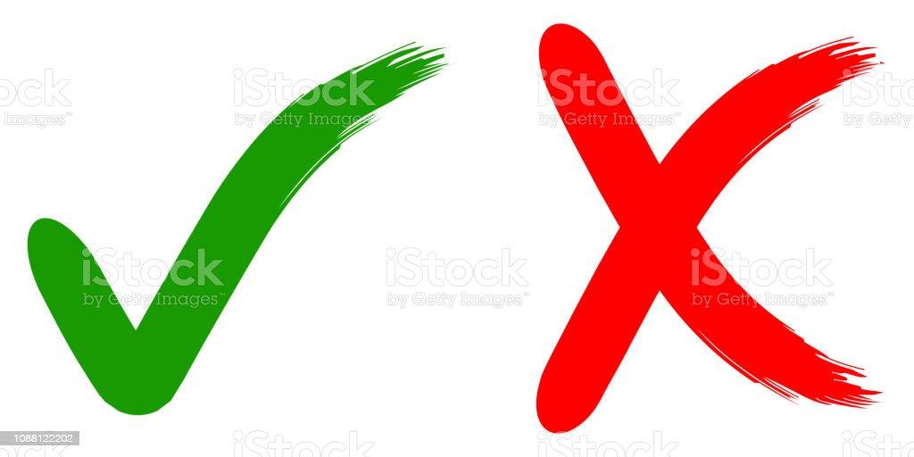 rejeitar e aprovar o sinal caligráfico okey não, verde e vermelho, escova da mão desenhada, ilustração para impressão ou rejeição do projeto de site de vetor e aprovar - ilustração de arte em vetor