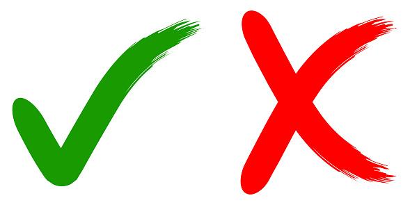 拒絕和批准書法標誌確定不 綠色和紅色 手繪畫筆 印刷或網站設計的向量插圖拒絕和批准向量圖形及更多互聯網圖片