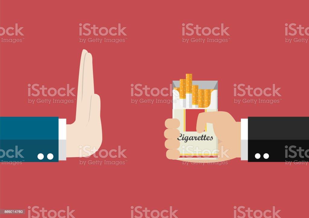 Reject cigarette offer vector art illustration