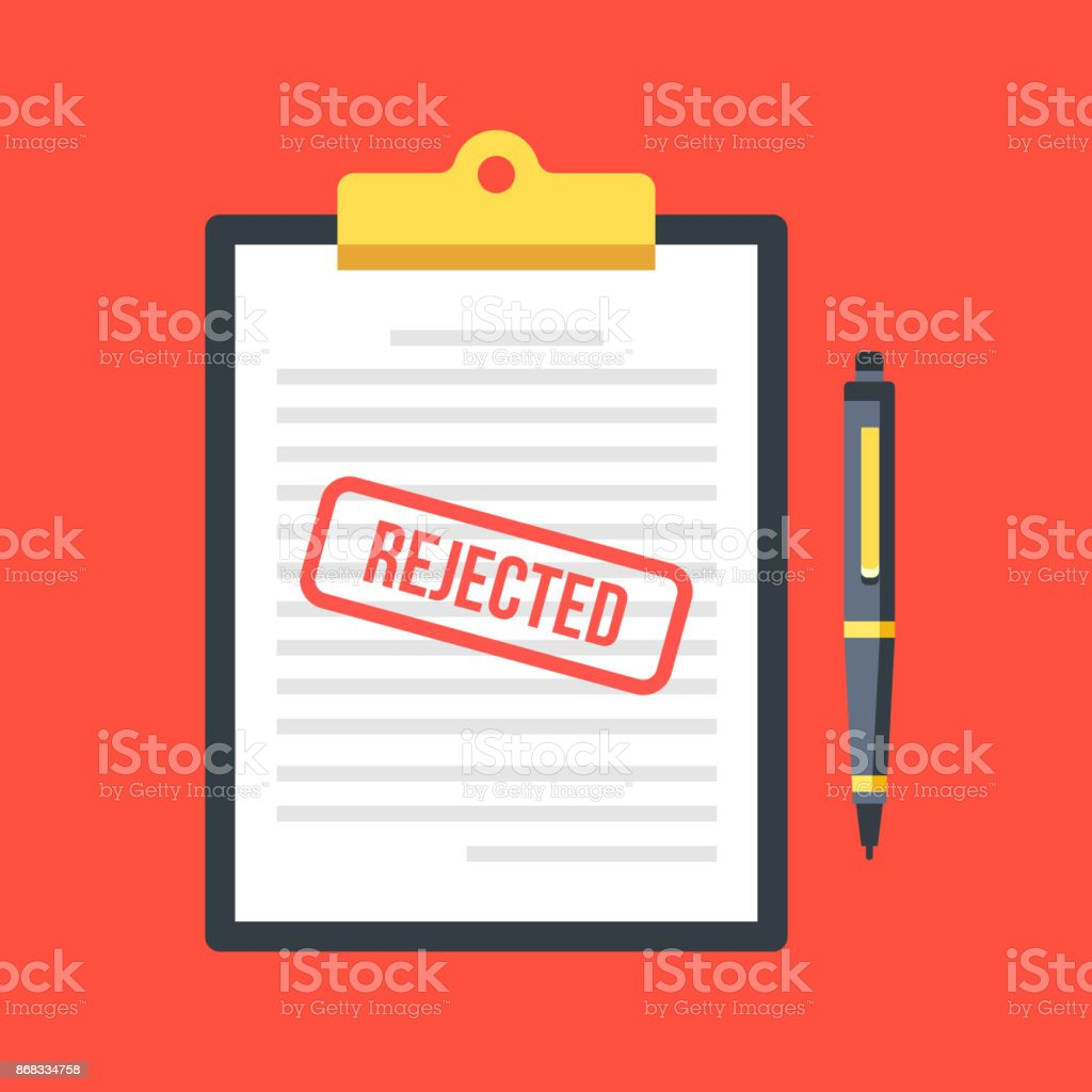 Rejected application. Clipboard with document, red rejected stamp and pen. Top view. Modern flat design vector illustration vector art illustration