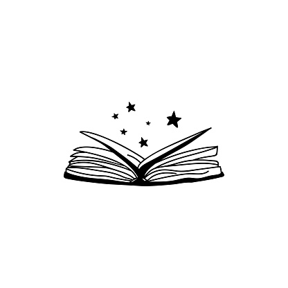 Rejected book with stars. Vector illustration in doodle style. Isolate on a white background.