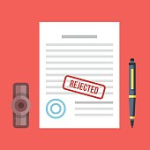 Rejected document with stamp and pen. Rejected application concepts. Modern flat design graphic elements set. Vector illustration