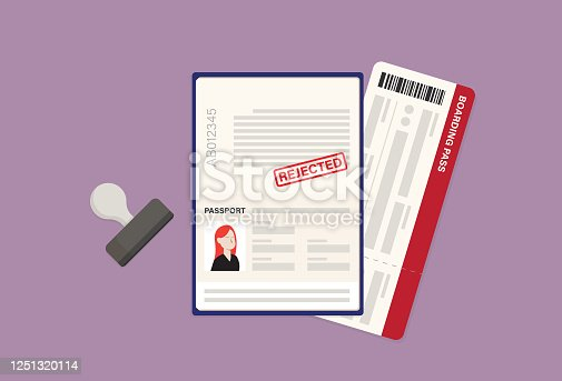 istock Rejected passport, boarding pass, and rubber stamp 1251320114
