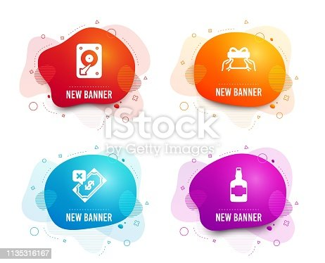 Liquid badges. Set of Rejected payment, Hdd and Give present icons. Whiskey bottle sign. Bank transfer, Hard disk, Receive a gift. Scotch alcohol.  Gradient rejected payment icon. Flyer fluid design