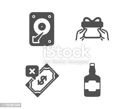 Set of Rejected payment, Hdd and Give present icons. Whiskey bottle sign. Bank transfer, Hard disk, Receive a gift. Scotch alcohol.  Classic design rejected payment icon. Flat design. Vector