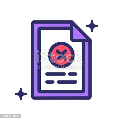istock Rejected Task icon vector illustration for logo, web,landing page, stickers and background 1280523422