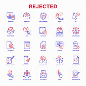 istock Rejected thin line icons set: sync, idea, agreement, calendar date, employee, audit, document not certified, profile, order cancelled, misunderstanding. Modern vector illustration. 1198818963