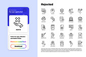 Rejected thin line icons set: sync, idea, agreement, calendar date, employee, audit, document not certified, profile, order cancelled, misunderstanding. Modern vector illustration.