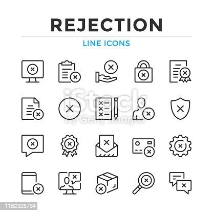 Rejection line icons set. Modern outline elements, graphic design concepts. Stroke, linear style. Simple symbols collection. Vector line icons