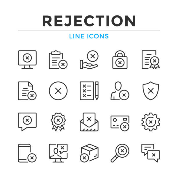 Rejection line icons set. Modern outline elements, graphic design concepts. Stroke, linear style. Simple symbols collection. Vector line icons Rejection line icons set. Modern outline elements, graphic design concepts. Stroke, linear style. Simple symbols collection. Vector line icons failure stock illustrations