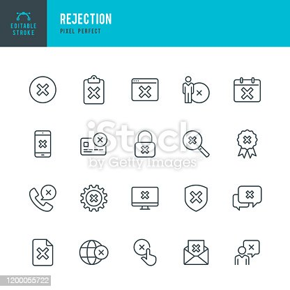 Rejection - thin line vector icon set. 20 linear icon. Pixel perfect. Editable outline stroke. The set contains icons: Accessibility, Rejection, Failure, Checkbox, Network Security, Privacy, Alertness, Delete Key, Cross Shape, Forbidden.