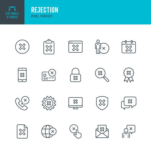 stockillustraties, clipart, cartoons en iconen met afwijzing-pictogram voor dunne lijn vector ingesteld. pixel perfect. bewerkbare lijn. de set bevat iconen: toegankelijkheid, afwijzing, falen, checkbox, privacy, alertheid, delete-toets, kruisvorm, verboden. - mislukking