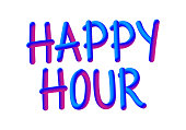 istock HAPPY HOUR Related Banner Concept. Neon Style, 3D Text 1291157181