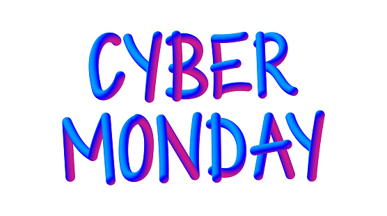 CYBER MONDAY Related Banner Concept. Neon Style, 3D Text