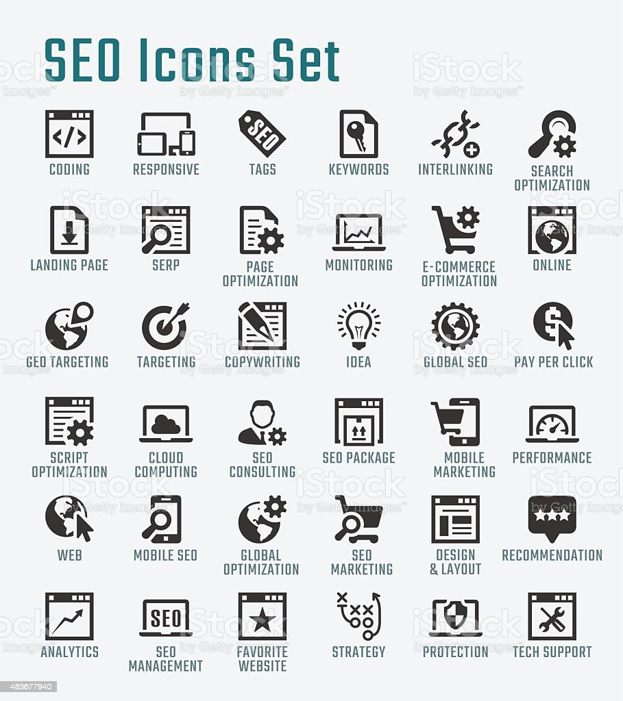SEO related big vector icon set vector art illustration