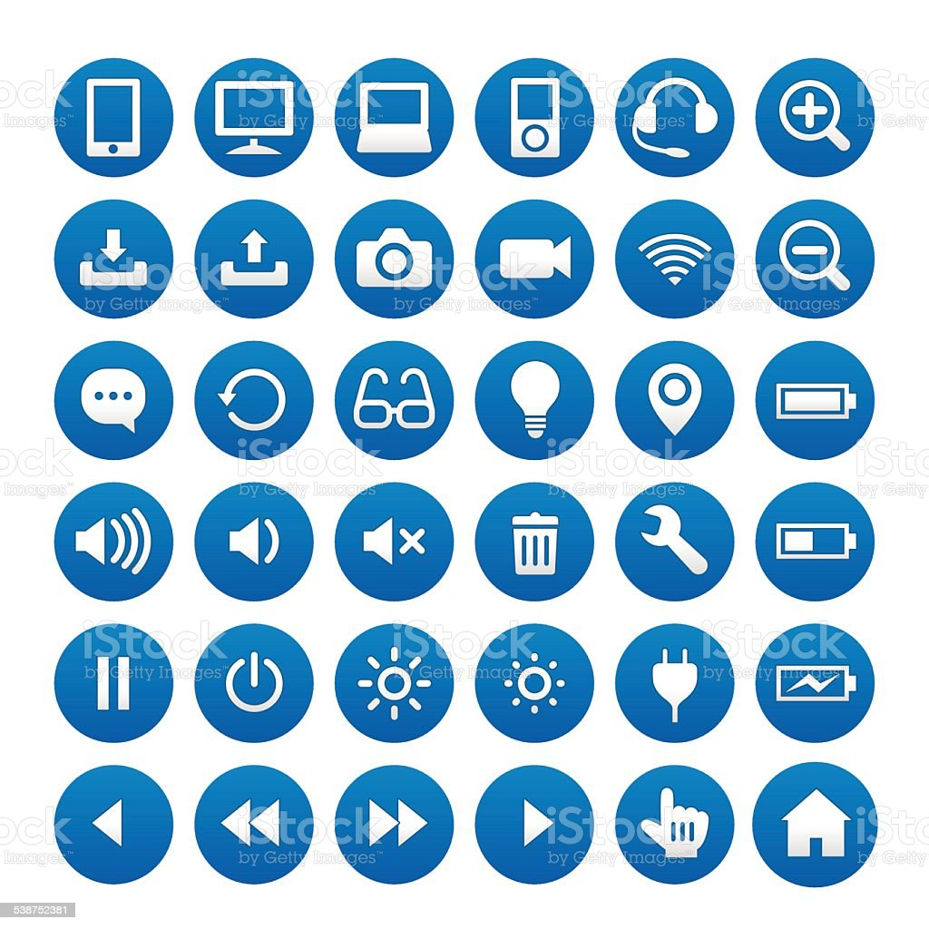 PC related icon vector art illustration