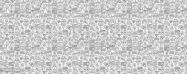 SEO Related Seamless Pattern and Background with Line Icons