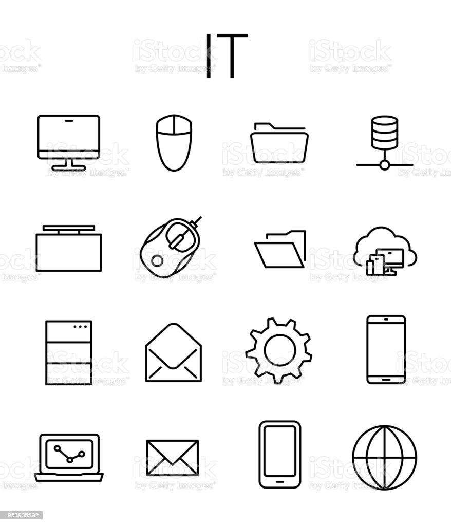 IT related vector icon set. vector art illustration