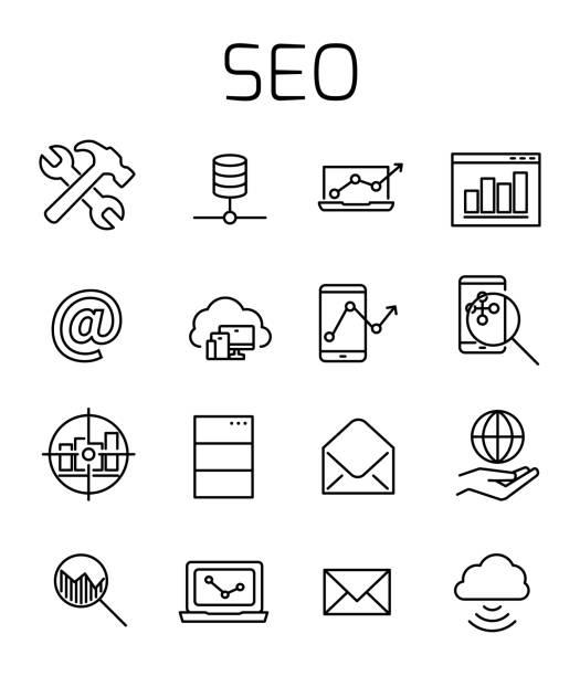 ilustrações, clipart, desenhos animados e ícones de seo relacionados icon set vector. - mobile