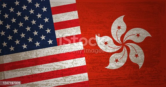 Relations between Hong Kong and USA with grunge textured background