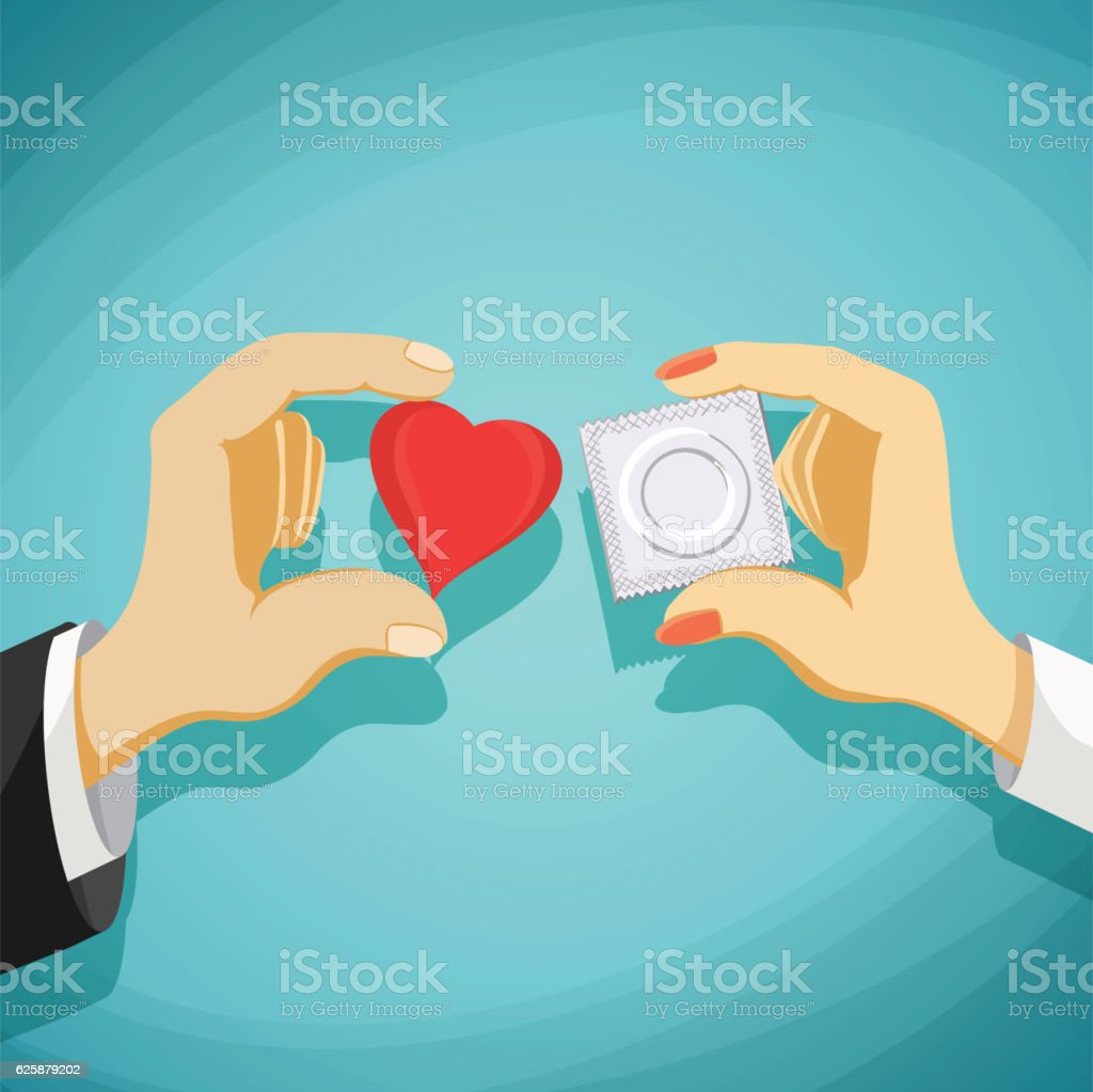 Relationship between man and a woman. Prevention of AIDS vector art illustration