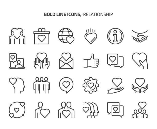 Relationship bold line icon set Relationship bold line icon set. The set is about love, heart, friendship, valentine, partnership, vector, editable stroke, line, outline. love emotion stock illustrations